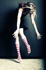 """Every day brings a chance for you to draw in a breath, kick off your shoes, and dance."" (*canadian chick*) Tags: portrait selfportrait motion me socks self hair myself dance crazy movement toes dancing stripes tippytoes explore sp midair stripey striped kneesocks stripey"