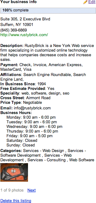 Google Local Business Center Edit