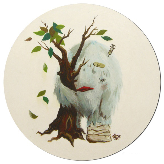 Original Painting Magnet (ouch tree hug)