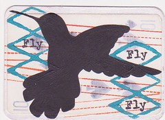 Fly (eleonorina78) Tags: bird atc artisttradingcard handpainted stamping trade gesso playingcard acriliccolor