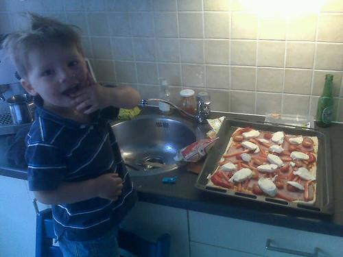 Papa & thomas bakken een pietza