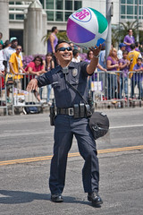 Even the cops were having fun (Candice, AKA Bessie Smith) Tags: people losangeles downtown police parade cop lakers beachball figueroastreet