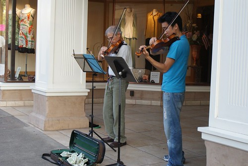 Violin duo at dusk