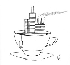 TEA AND THE CITY (m_everald) Tags: city hot building cup island spring tea drink drinking sugar condo burst rise teacup teabag saucer martineverald