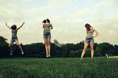 The laws have changed (englishsnow) Tags: park summer portrait people grass four jumping july teen clones multiples