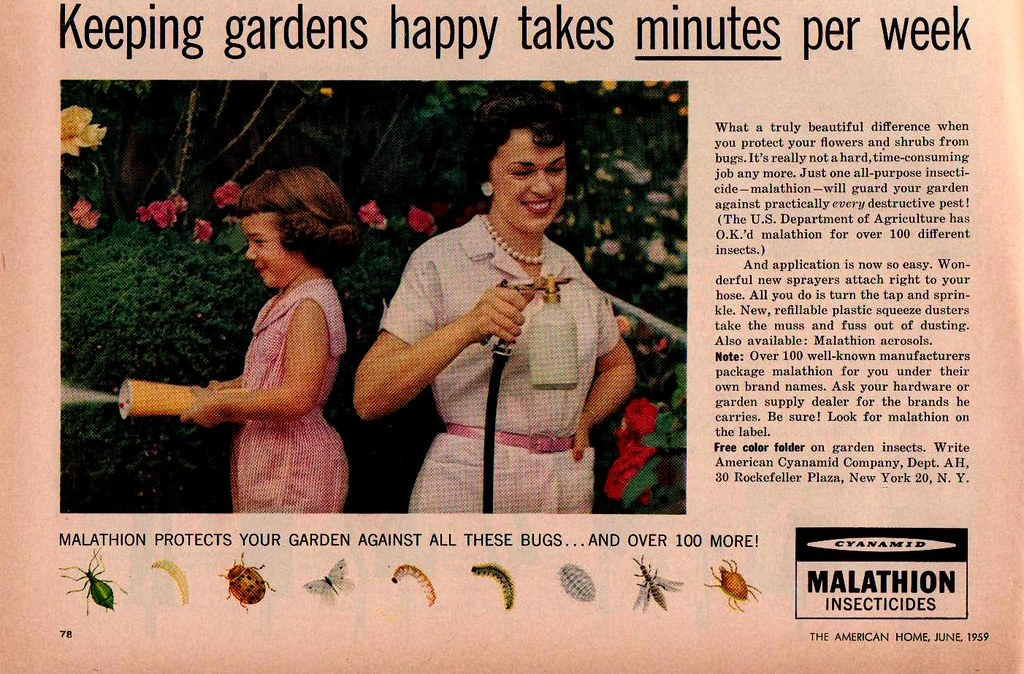 Malathion Insecticides Ad (saltycotton) Tags: Vintage Magazine Gardening Ad  Daughter Mother Bugs Pearls