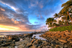 Secret Beach (harogi) Tags: ocean sunset sea usa clouds hawaii rocks secretbeach hi coconuttree hdr koolina kapolei