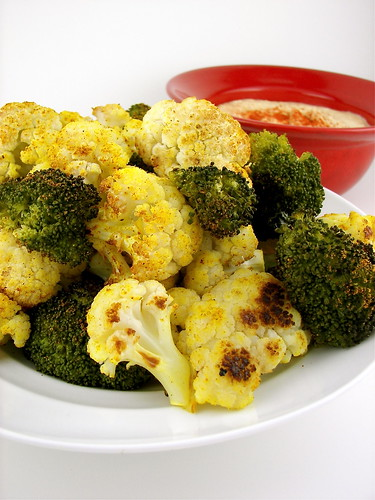 Curry Roasted Broccoli and Cauliflower with Hummus