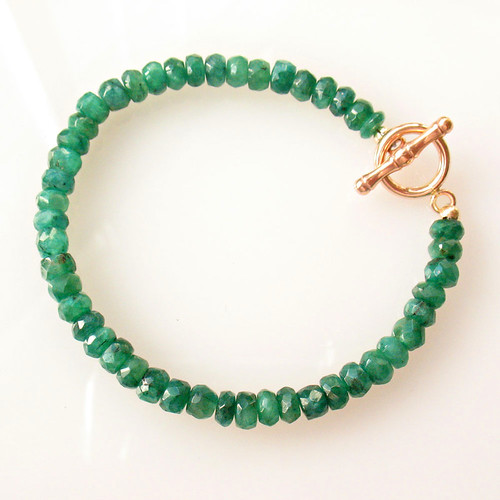 emerald bracelet with rose gold clasp