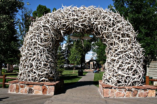 The famous Antler Arches in Jackson Holes town square.