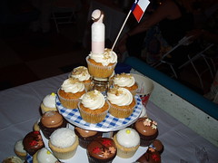Chris's cupcake tower with Texas flag