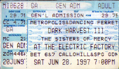 19970628 - Sisters Of Mercy - ticket stub - The Electric Factory