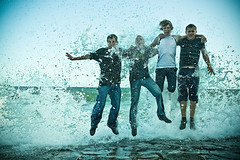 Tide jump (ole) Tags: ocean ireland sea wet jump europe tide wave guys bonheur tramore explored noticings