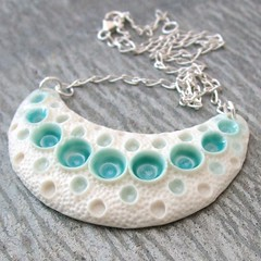 crescent (c-urchin) Tags: uk moon ceramic handmade bib jewelry crescent jewellery porcelain bibs