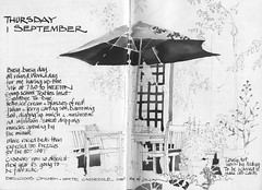 Parasol (skyeshell) Tags: garden sketch drawing diary lancashire pleinair tablechairs penwash eatingoutdoors sketchbookjournal