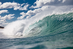 surfing at Scamander River, Tasmania (Sean Davey Photography) Tags: pictures ocean sea color green art nature horizontal photography energy waves power fine tube barrel wave australia sean tasmania curl aquatic tubing swell alternative curling davey endless h30 scamander barreling