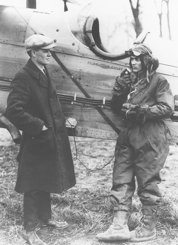 Photograph of airmail pilot Jack Knight and unidentified individual, by unknown photographer, 1922, Smithsonian National Postal Museum.