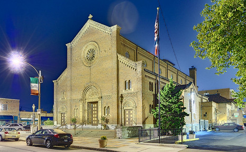 Saint Ambrose Roman Catholic Church, in the Hill neighborhood of Saint Louis, Missouri, USA - exterior at night