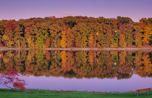 Lake Chesterfield at dusk, in Wildwood, Missouri, USA