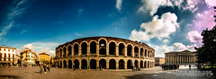 Verona Arena (Chris B70D) Tags: city trip travel chris venice sky people urban italy panorama sun distortion colour history texture glass weather stone architecture clouds photoshop canon buildings tile landscape photography construction scenery long raw arch view place dynamic image weekend north dramatic atmosphere 360 scene location historic verona seeing stitching classical photomerge editing sight febuary degree vicenza padova neutral 70d berridge