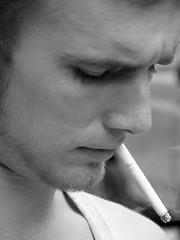 marlboro man BW (mandy girl...) Tags: bw man look noir cigarette candid smoke profile handsome olympus marlboro habitofart
