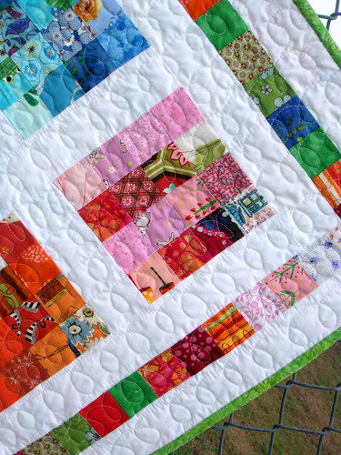 girls crayon quilt detail and binding