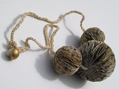 Three Bead Paper Necklace by Phiona Richards