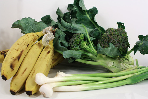 green garlic bananas broccoli
