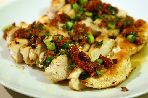 Chicken with sundried tomato and mustard sauce