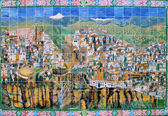 Cermanic Map of Ronda (cwgoodroe) Tags: summer costa white hot sol beach del bells spain ancient europe churches sunny bull bullfighter adobe ronda moors walls washed clothesline protective newbridge roda bullring stonebridge oldbridge spainish whitehilltown rondah spanishdoors
