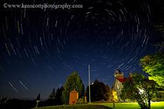 Grand Traverse Lighthouse ... at night. (Ken Scott) Tags: usa lighthouse michigan lakemichigan greatlakes startrails leelanau startrail leelanaustatepark grandtraverselighthouse nearthe45thparallel
