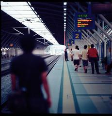 Tanjung Malim Station (qørun) Tags: bridge 6x6 train mediumformat squares malaysia commuter rm kiev88cm kodakektar100 ektar100 ktmberhad filmused czjsonnar180mm28f