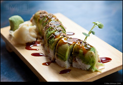 Caterpillar Sushi (Max Johnson) Tags: fish sushi geotagged lunch japanese avocado ginger rice sauce caterpillar eel wasabi sesameseeds sprout unagi sushihana maxjohnson
