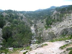 Sur le sentier touristique de la Piscia : les vasques en amont de la cascade (nombreux touristes en baignade)