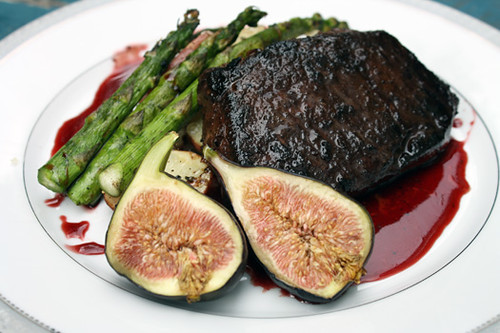 Cocoa-Coffee Bison with Pomegranite Syrup and Fresh Fig 1