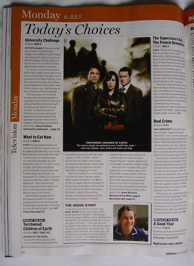 TORCHWOOD - 'Radio Times' Today's Choice