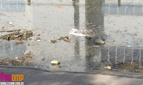 Canal at Ulu Pandan Park Connector polluted and filled with rubbish