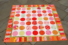 ORBC Q-Along Circle Quilt from leftovers (stephanielallgood) Tags: pink orange circle quilt scraps dots circlequilt