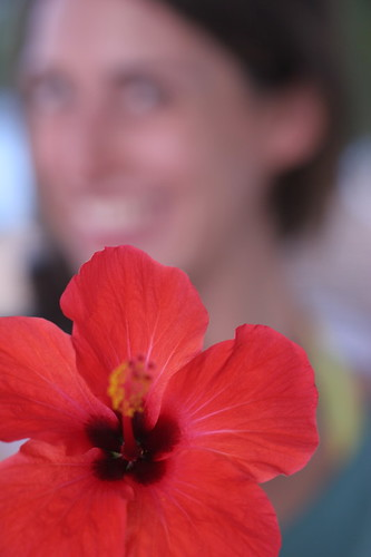 Girl holding red hibiscus flower