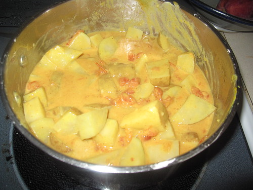 Potato-Peanut Curry nearly ready to serve
