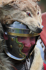 Roman Soldier with Wolf Skin Headdress, Ermine Street Guard, Kelmarsh Festival of History 2009 (Steve Greaves) Tags: red italy rome leather animal silver army gold march high italian ancient war uniform catchycolours dress arms roman juliuscaesar military helmet battle event imperial conflict soldiers historical shield recreation rank armour period invasion reenactment troops romanempire reenactors authentic legion romans invading armoury reconstruction invaders cohort legionary headdress headwear headgear livinghistory reenacting warfare englishheritage headress wolfskin kelmarsh erminestreetguard battledress standardbearer kelmarshhall paxromana nikond300 fightingforce 43ad imagebearer
