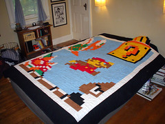 Mario Quilt on a Queen Size bed (pipesdreams) Tags: crafts nintendo videogames gaming quilting quilts supermariobros seenonflickr geekcrafts