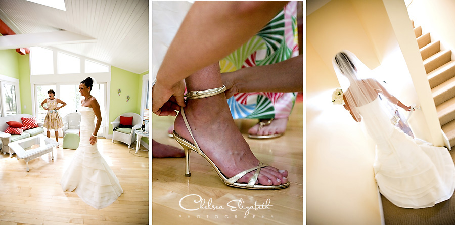 bride getting ready details gold high heels walking down stairs