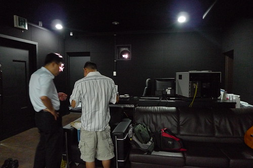 Discussing with the technician