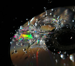 Liquid Bits (binaryCoco) Tags: light motion water glitter speed high rainbow wasser cd flash drop falling bewegung splash blitz highspeed strobe wassertropfen tropfen dropping spritzer glitzern momentaufnahme hochgeschwindigkeit tropfend fallend regenbogeb coimpactdisc