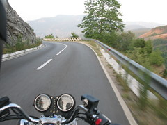 Motorcycling on mountain roads, Albania