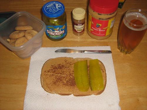 Peanut butter pickle sandwich