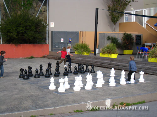 kids and giant chess
