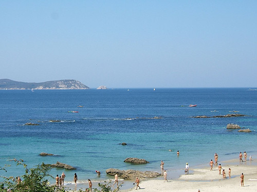 Playa de Pragueira con las Islas Ons al fondo, Pontevedra