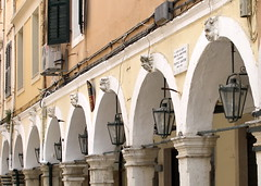 ,  . , .  - Corfu, Nik. Theotoki str, detail of arcade (Corfu Town) Tags: buildings arcade greece corfu kerkyra oldtown
